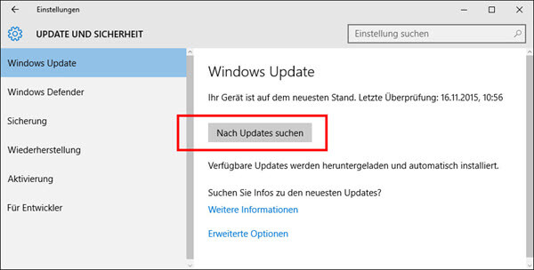 Nach Updates suchen Windows 10